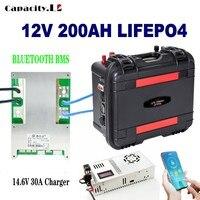 Batteria 12v lifepo4 200ah RV batteria al litio ricaricabile 100ah batteria solare 150AH con Bluetooth bms per motore esterno