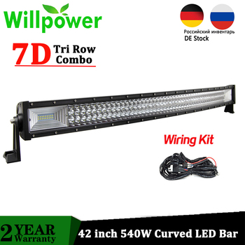 цена на Willpower 7D Tri-Row Offroad LED Bar 42 inch 540W Curved Combo LED Car Work Light Driving Lamp Truck 4x4 4WD ATV SUV 12V 24V