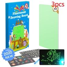 3pcs A3 Educational Toy Drawing Board Tablet Graffiti Led Luminous Magic Raw With Light-fun
