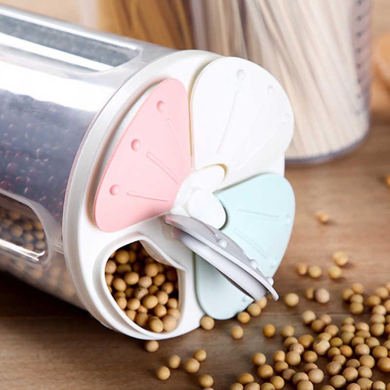 مختومة البلاستيك الحبوب موزع صندوق تخزين المطبخ الغذاء الحبوب الأرز الحاويات لطيفة المطبخ الأرز صندوق تخزين الدقيق تخزين الحبوب