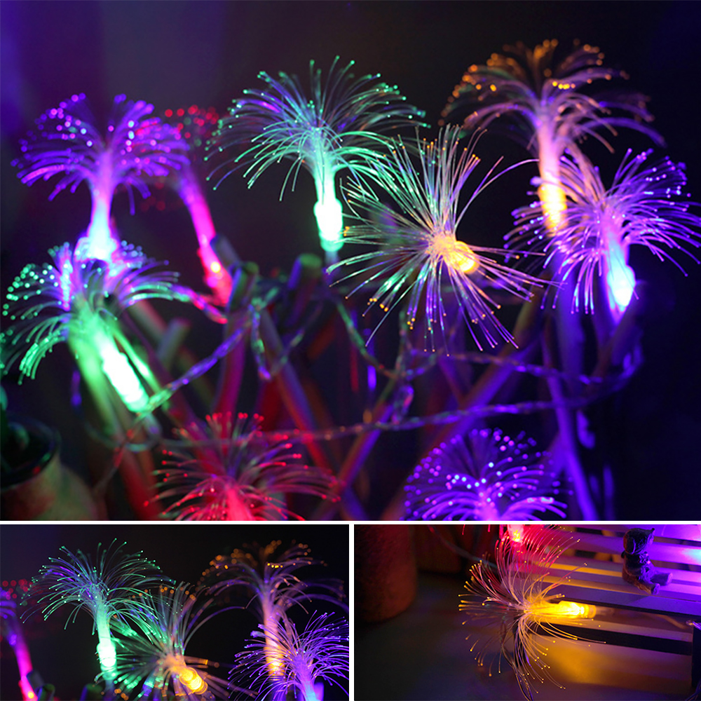 10m 100LEDs Fiber Optic String Light Dandelion Fairy Lamp Home Christmas Party Decoration Blue Light-US Plug 10m 100 LEDs