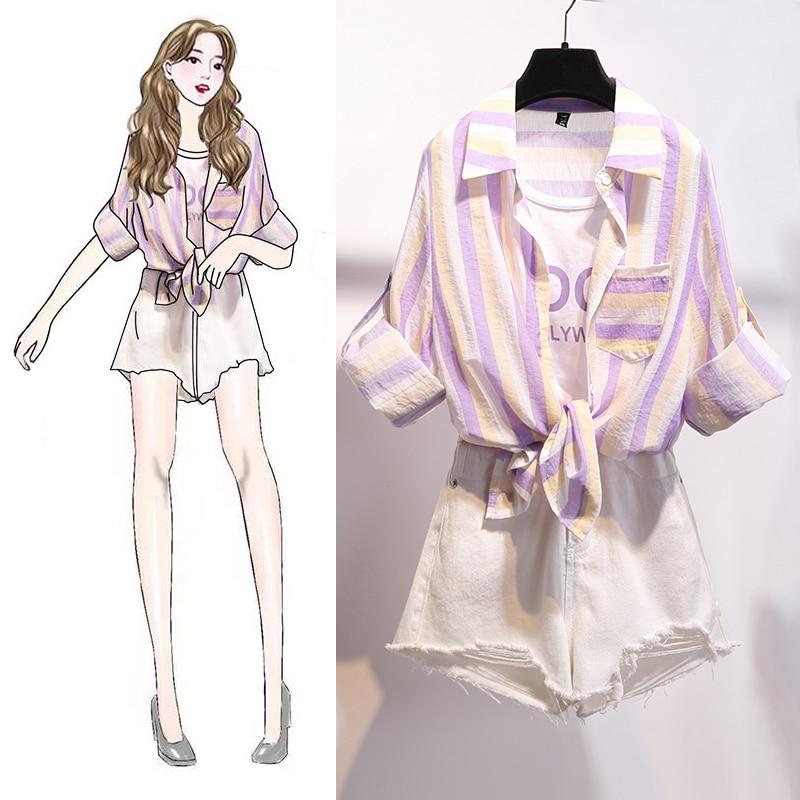 Striped Blouse Patchwork Loose Casual Shirts Two-Piece Women Korea School Hole Denim Jeans Shorts Suit Female Clothing Sets