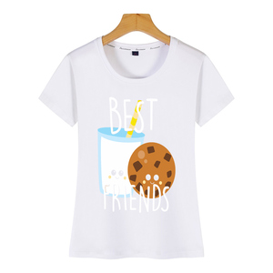 Tops T Shirt Women cookie bestie cute food bff best friend cooki Sexy Harajuku Print Female Tshirt