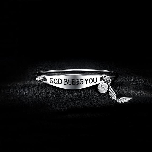 God Bless You Sterling Silver Bracelet