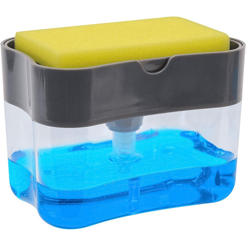 1PC Automatic Soap Dispenser With Cleaning Sponge Storage Grid For Kitchen Household Rectangle Refillable Bottle