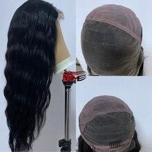 Dlme corpo ondulado 150% onda do corpo cheia do laço peruca de cabelo humano com o cabelo do bebê pré arrancado peruca brasileira para as mulheres