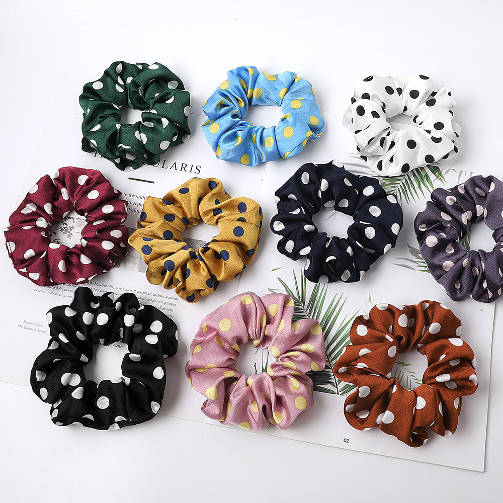 Free Shipping Fashion Women's Basic Solid Color Dots Elastic Hairbands College Style Hair Scrunchies Girl's Hair Accessories