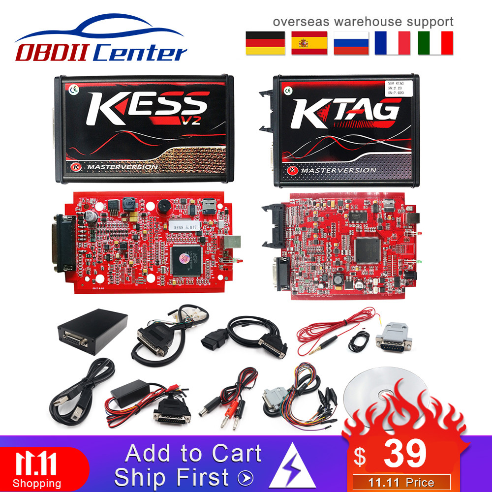 2019 KTAG V7.020 Master K-TAG 7.020 KESS V2 5.017 Red PCB Euro ECU Chip Tuning Tool K TAG Full Adapters OBD2 ECU Programmer GPT