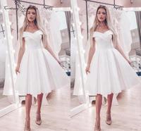 White Homecoming Dresses Short Graduation Dresses 2020 Off Shoulder Knee Length Corset Back Plus Size Simple Prom Gowns Cheap
