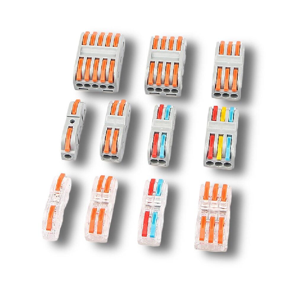 Mini conector de Cable rápido, bloque de terminales PCT-222, compacto Universal, empalme de resorte, Conductor de alambre de plástico, 10 Uds.