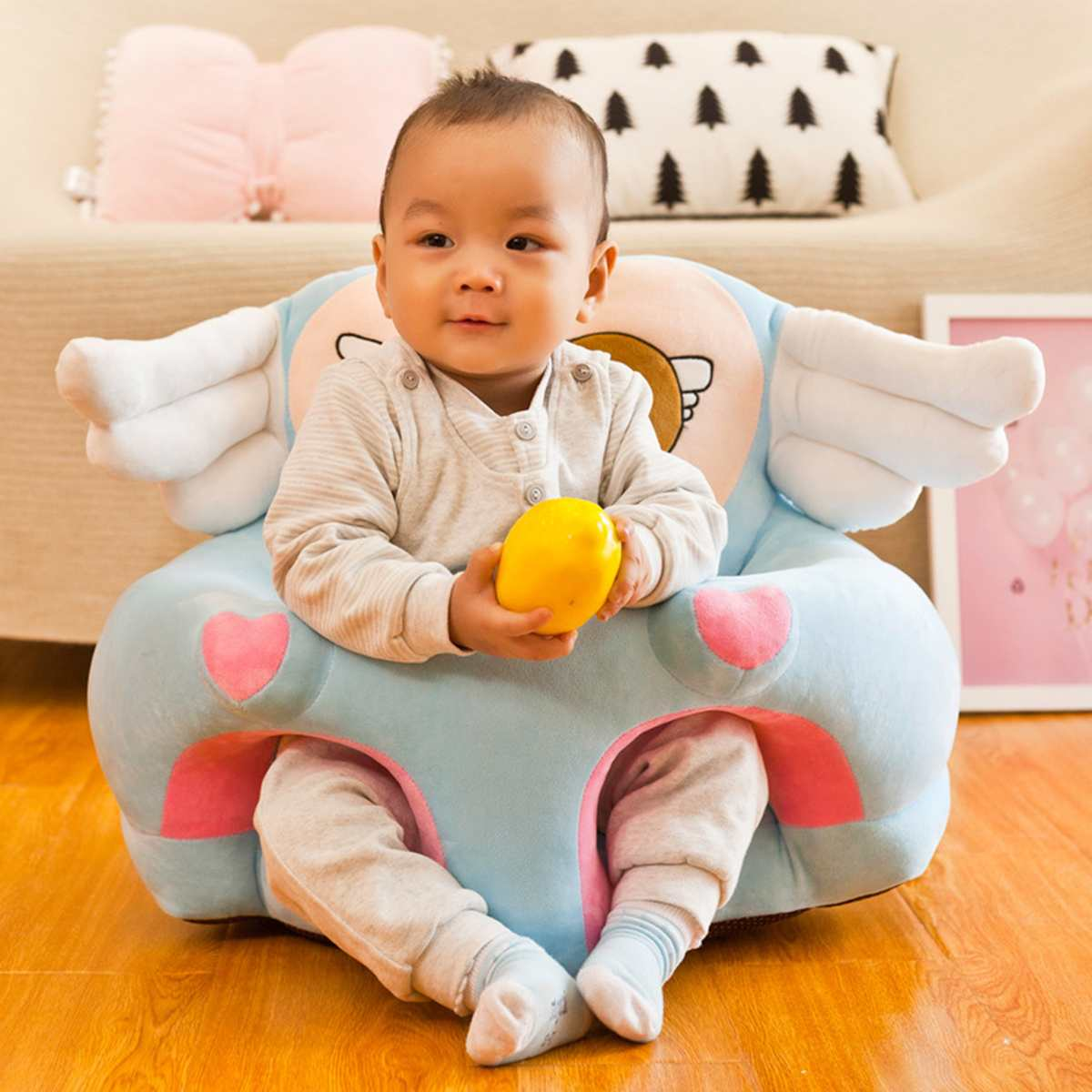 Cartoon Baby Sofa Support Seat Cover Cute Angel Wing Baby Toddler Learn To Sit Plush Chair Cover Comfortable Nest Puff No Filler