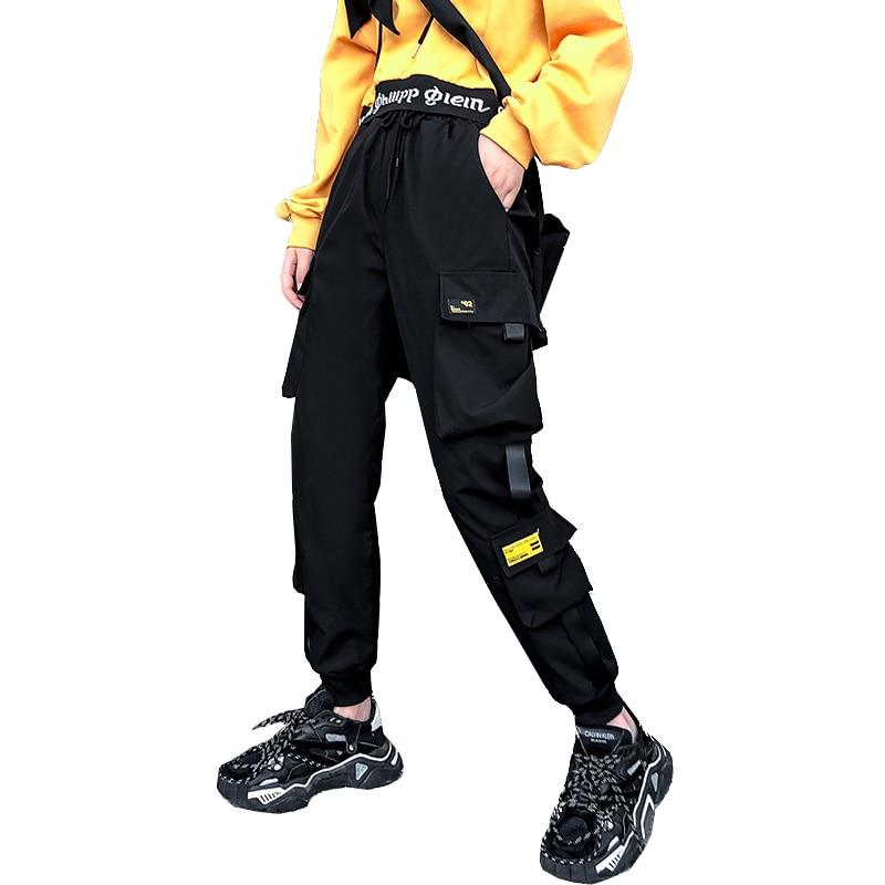 Women's Street Wear Black Harem Pants Women's Elastic Belt Punk Pants Ribbon Casual Slim Sports Pants Hip Hop Pants