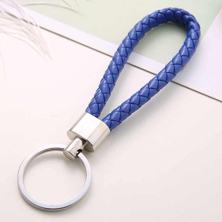 Llavero tejido de cuerda de cuero hecho a mano con llaveros de Metal llaveros para hombre o mujer llavero con llavero automático regalos