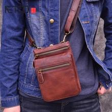 лучшая цена AETOO Retro leather men's Messenger bag head layer leather vertical small bag summer casual phone bag
