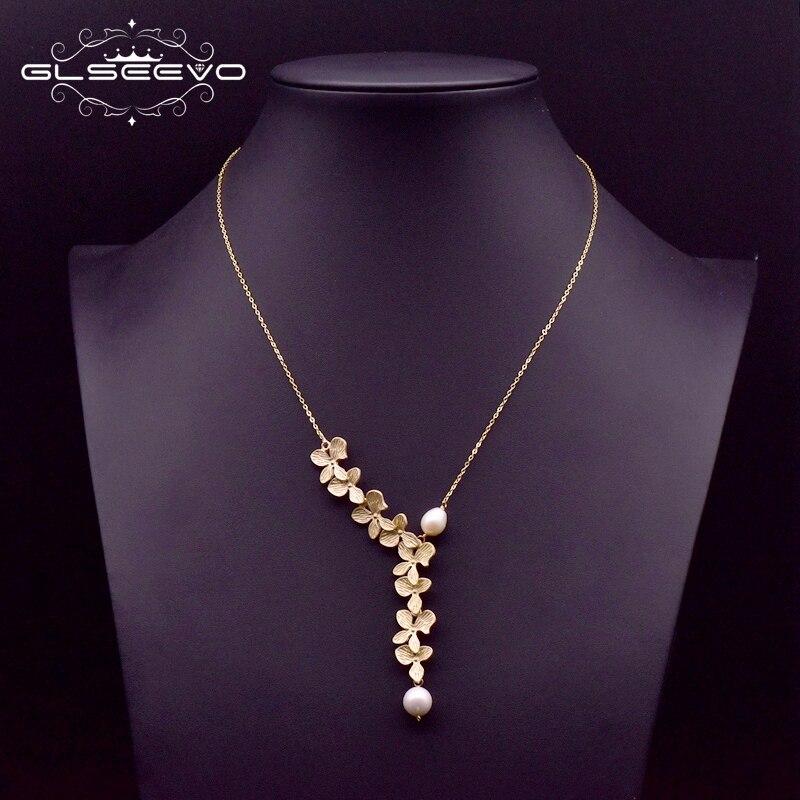 GLSEEVO 925 ayar gümüş yaprak kolye doğal tatlı su incisi kolye kolye kadınlar için düğün güzel takı GN0110
