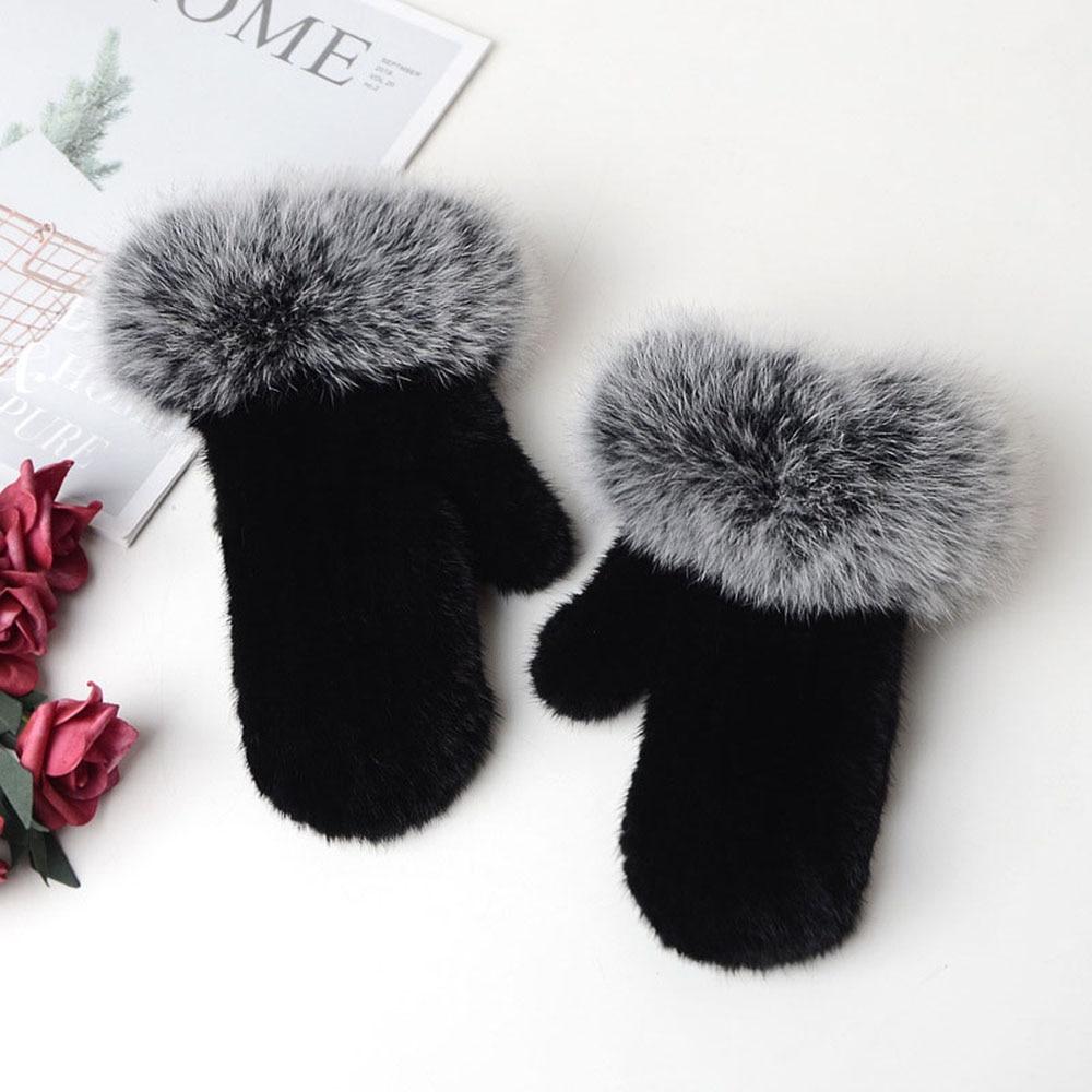 Новинка 2019, женские вязаные перчатки из меха норки, зимние теплые уличные меховые перчатки из меха лисы, HN281 - 3
