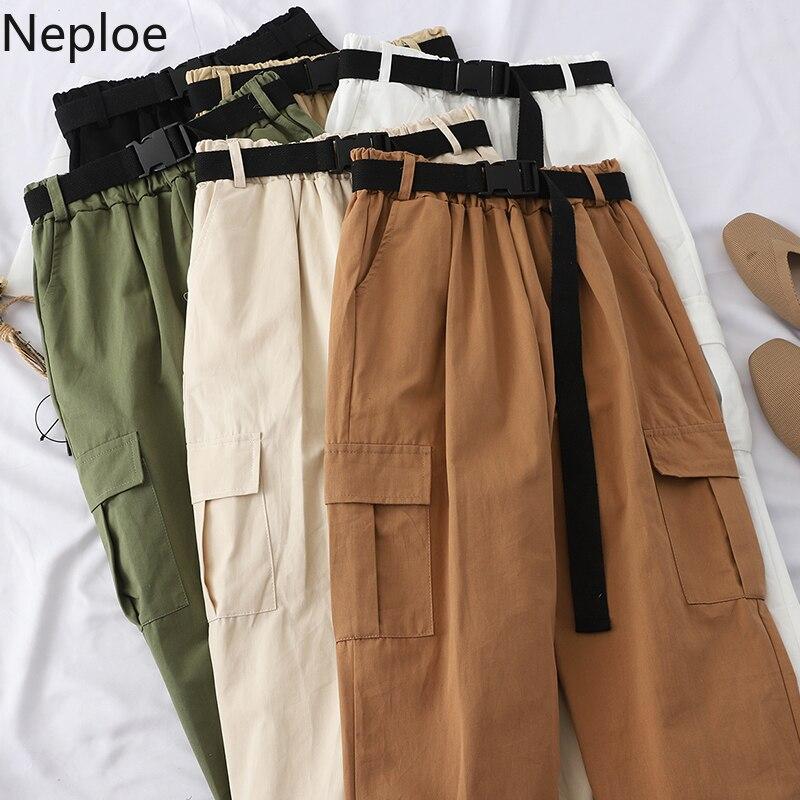 Neploe Harajuku Streetwear Cargo Pants Women Casual Joggers Sweatpants High Waist Loose Female Trousers Korean Pantalon Belt