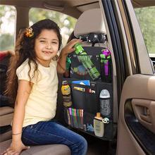 Автомобильный Органайзер на заднюю часть сиденья, сумка для хранения с несколькими карманами, держатель для планшета, аксессуары для салон...