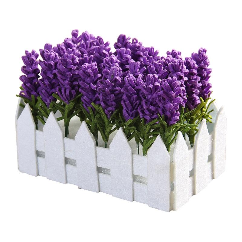 Felt-fabric Bedroom Decoration Artificial Flowers Felt DIY Package Fake Lavender Potted Decoration For Living Room & Bedroom thumbnail