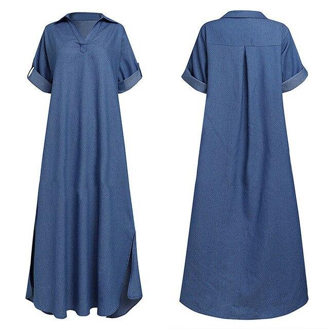 Summer Denim Dress For Women 2021 Casual Spring Blue  V-Neck Half Sleeve Maxi Dresses Plus Size Split Long Dresses Vestidos 5XL 6
