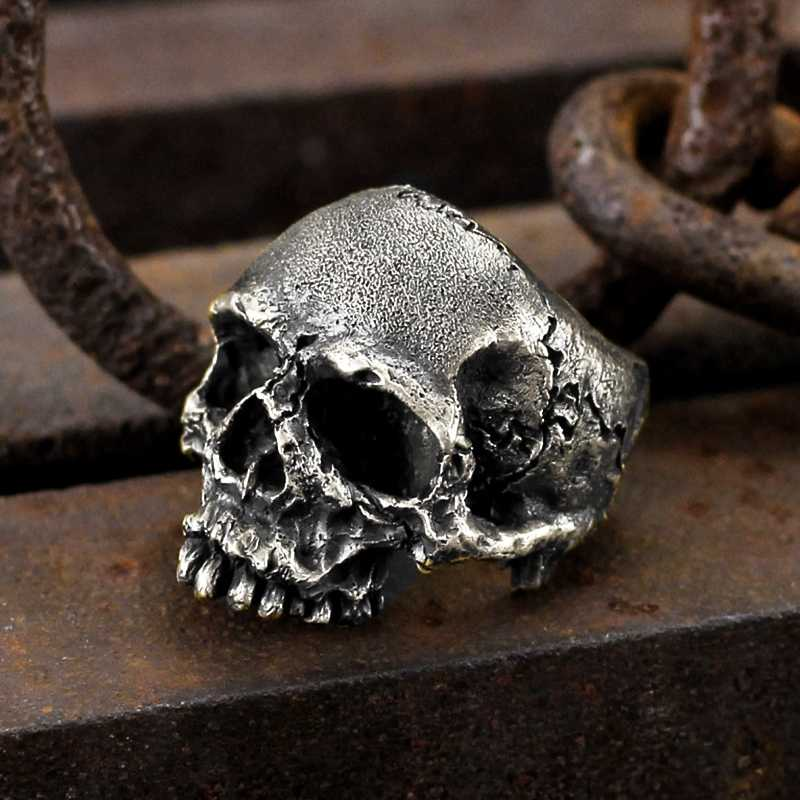 EYHIMD Vintage Punk 316L Rugged Skull Stainless Steel Rings Men's Fashion Party Biker Jewelry
