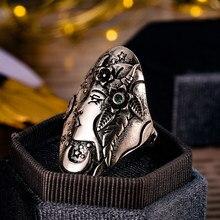 Huitan esculpida design sol e lua anéis femininos do vintage único presente da menina do punk acessórios femininos para festa de dança jóias navio da gota