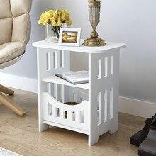 Mesita de noche Blanco simple mesa pequeña mesa de té y café de plástico para dormitorio Oficina revistero estante de almacenamiento decoración del hogar gabinete mx3111150