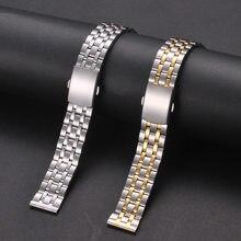 Bracelets en métal pour hommes et femmes, 18mm, 20mm, 22mm, or, argent, Rose, acier inoxydable, bracelet de montre