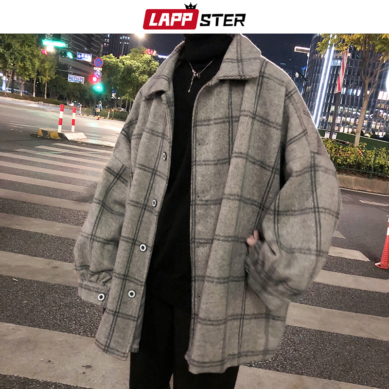 LAPPSTER Men Korean Style Plaid Overcoat 2020 Overcoat Wool Mens Streetwear Windbreaker Harajuku Fashions Oversize Jackets Coats