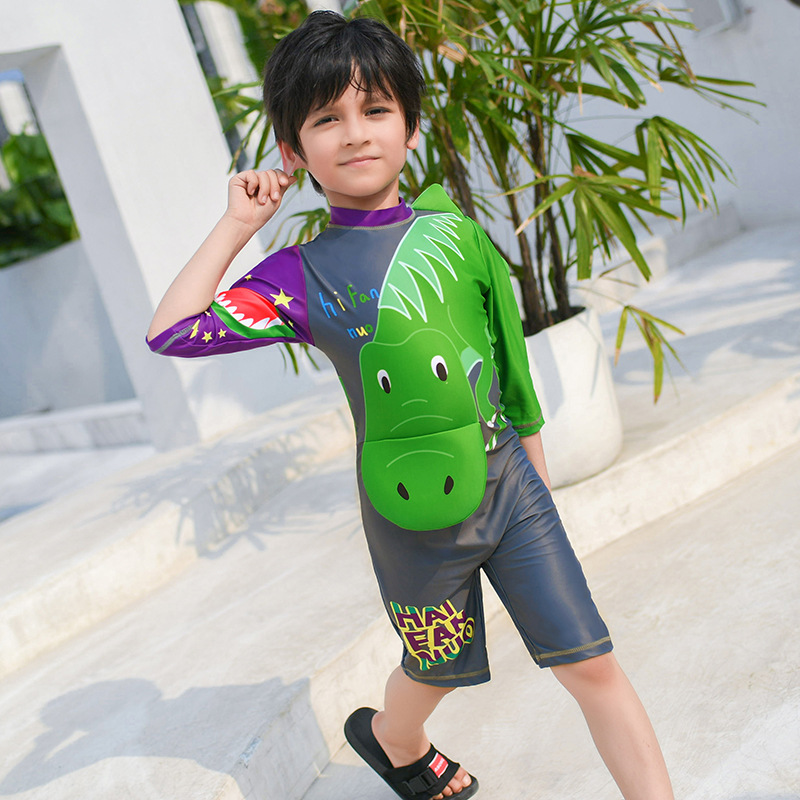 2019 New Style Hot Sales KID'S Swimwear Short Sleeve Shorts Stand Collar Stereo Cartoon Sun-resistant Hot Springs Quick-Dry BOY'