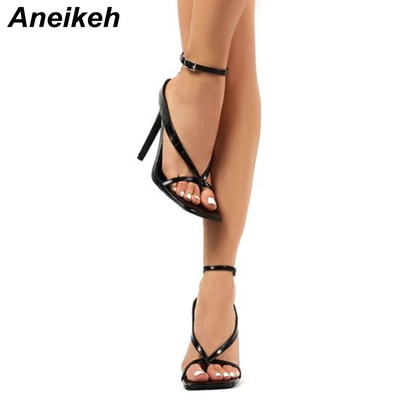 Aneikeh Fashion PU Checkered Stone Print Women Shoes High Heels Sandals Summer Pinch Toe Peep Toe Party Sandals Pumps Size 35-41