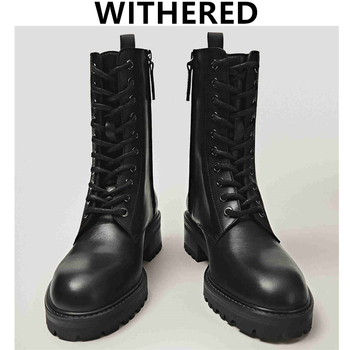 Withered 2020 England Vintage Fashion Cowhide High Top Martin Boots Motorcycle Ankle Boots Women Zippers Botas Mujer Shoes Women