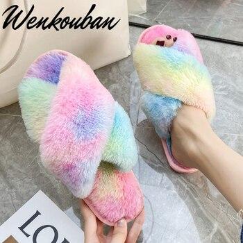 Chanclas con pelo y lazo para Mujer, deslizantes De piel, Zapatos multicolores para el hogar para Mujer con Zapatillas De felpa De arcoíris