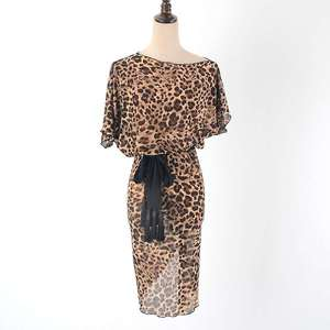 leopard print latin dress salsa dress cha cha dress samba dress with belt latin praticewear W2016