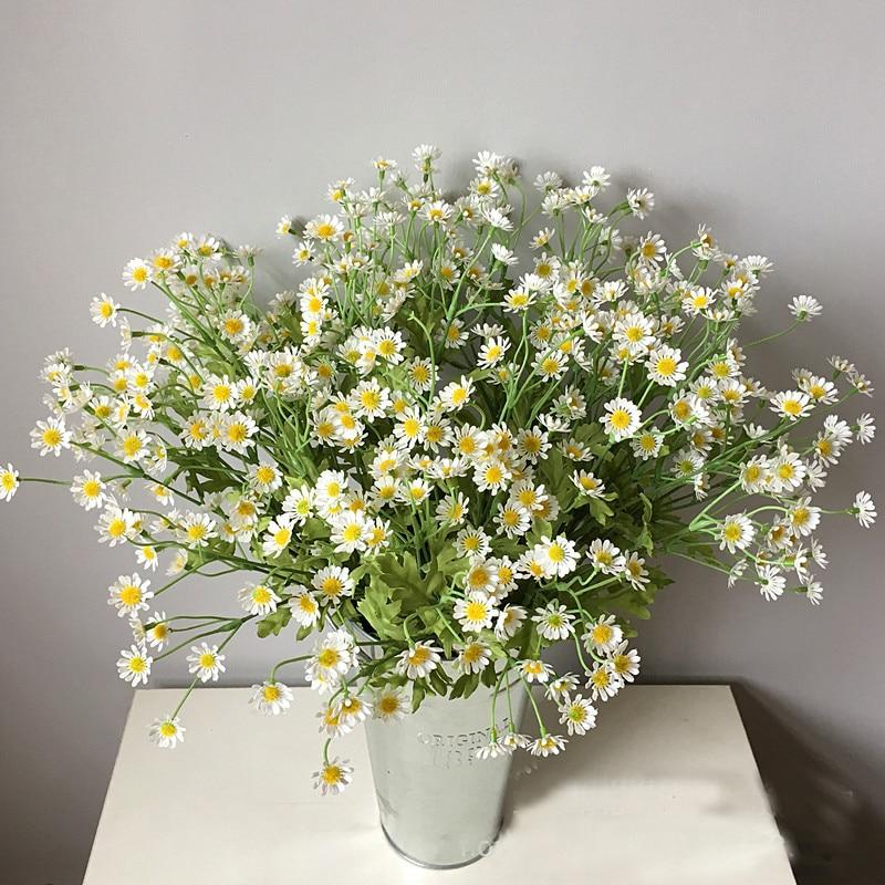 Искусственные шелковые цветы, ромашка, маленькая Маргаритка с тычинками для украшения свадебного стола