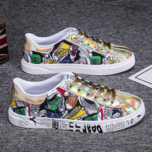 Fashion Couple Shoes Graffiti Printed Glitter Shoes