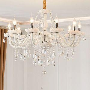 Image 1 - Branco moderno luzes do candelabro de cristal lâmpada lustres para sala estar quarto luminária cristal lustres iluminação