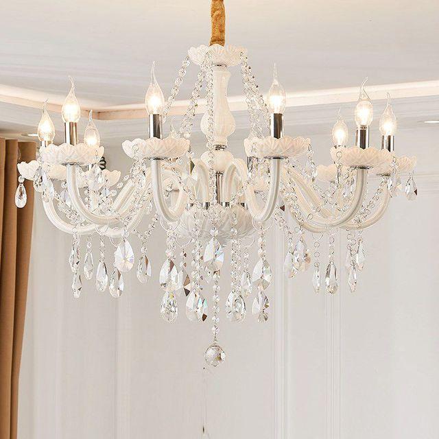 Branco moderno luzes do candelabro de cristal lâmpada lustres para sala estar quarto luminária cristal lustres iluminação