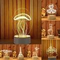 Трехмерный ночной Светильник 3D USB  акриловый Ночной светильник светодиодный  настольный декор для спальни  подарок  теплая белая лампа  укра...