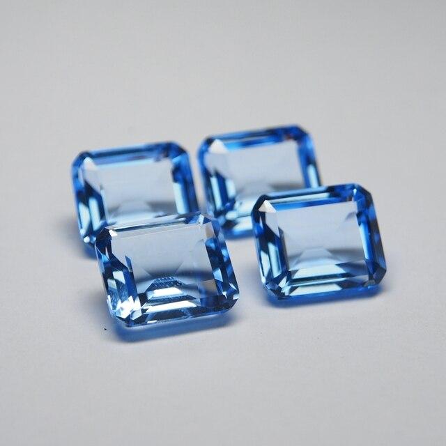 12*14 mm 5 Piece octagon Hydrothermal Quartz Aquamarine crystal Loose gemstone for jewellery making 5