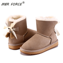 Snow-Boots Short Sheepskin Winter Shoes Ankle Suede Women Lined Fur with Bowknots-Fur