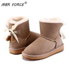 ה MBR FOORC אופנה חדש כבש עור צמר פרווה מרופד נשים קצר קרסול חורף זמש שלג מגפי עם bowknots פרווה חורף נעליים