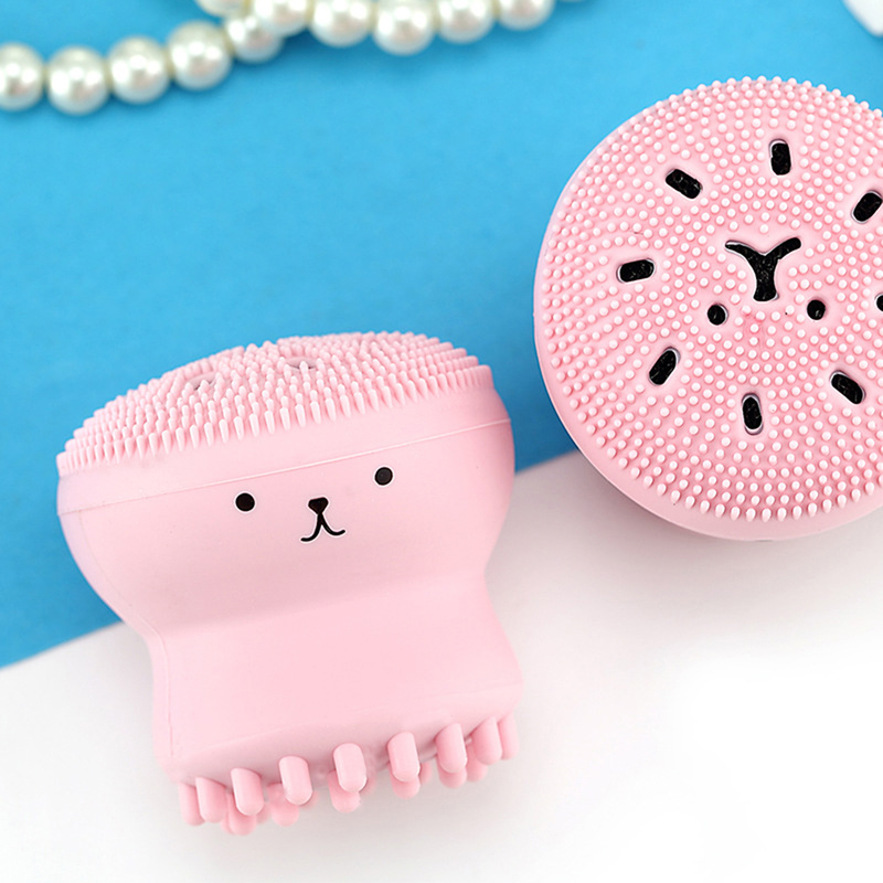 Lovely Animal Small Octopus Shape Silicone Facial Cleaning Brush Face Washing Brush Skin Care  Deep Pore Cleaning Exfoliator