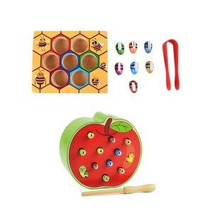 1 Набор улей игровые игрушки и 1 шт ловить червя игра игрушка: для ребенка раннего образования малыш игра красочные улей коробка гусеница An