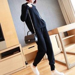 Solid плюс размер, однотонный высококачественный трикотажный спортивный комплект из 2 предметов для дам, вязаные толстовки и свитера, штаны, ч...