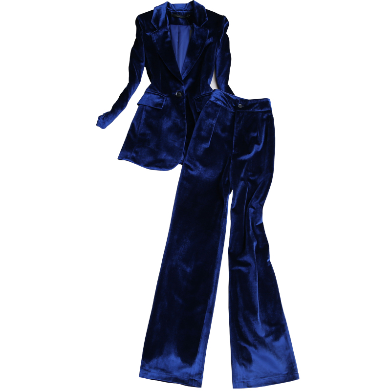 2019 High Quality Winter Women's Suits Pants Suit Gold Velvet Ladies Jacket Small Suit Elegant Wide-leg Trousers Two-piece