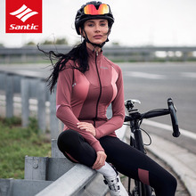 Bicycle Jersey Clothing-Set Bike Pro-Team Santic Warm Winter Fleece Women Autumn
