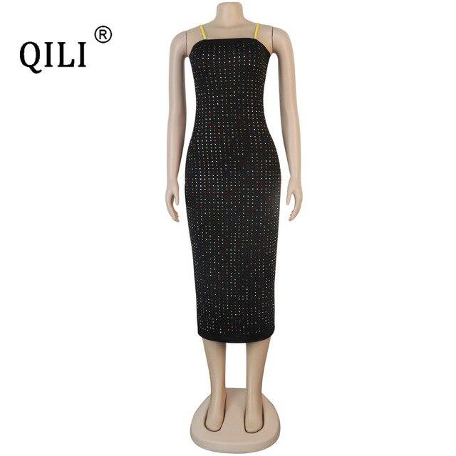 Фото qili womens diamonds dress black blue sexy apaghetti strap pencil