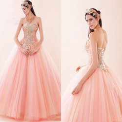 Rosa quinceanera vestidos de renda até tule luxo bling cristal frisado doce 16 baile baile baile quinceanera longo vestido