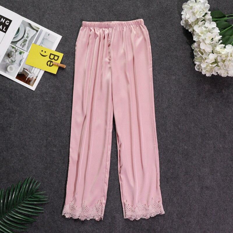 Осенние женские атласные пижамные штаны Свободные повседневные пижамы одежда для сна штаны для отдыха домашняя одежда - Цвет: pink B